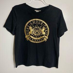 H&M   Black T-Shirt Gold Motif